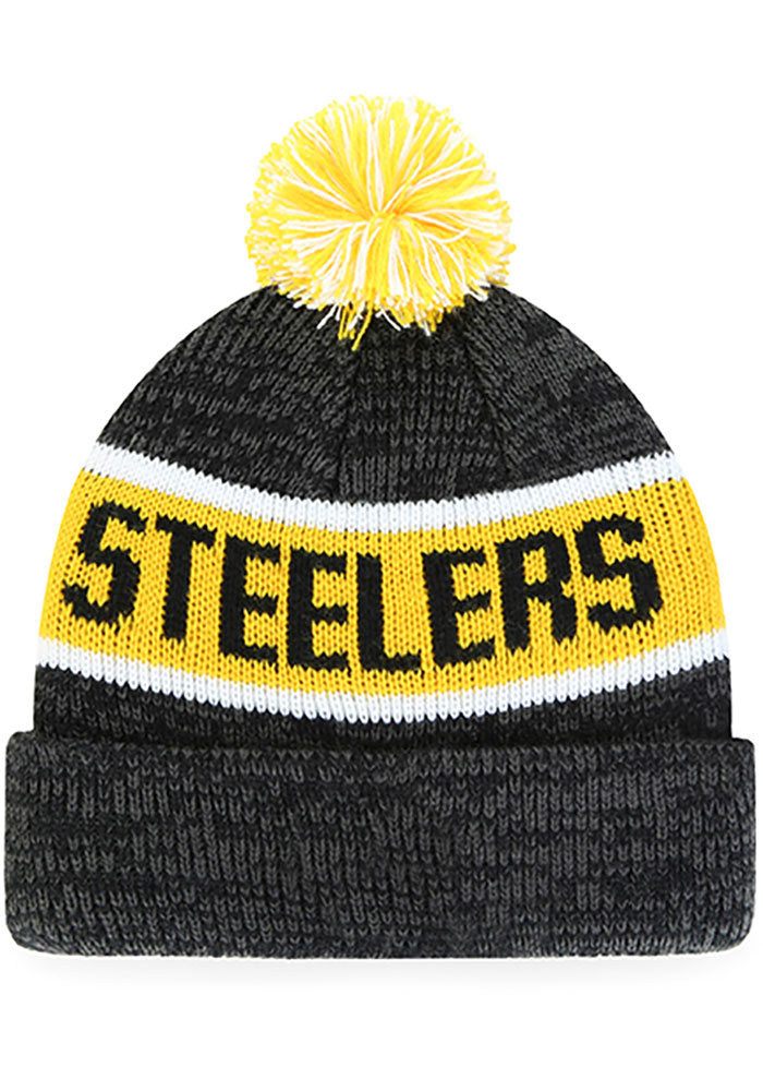 '47 Pittsburgh Steelers Black Tadpole Cuff Knit Youth Knit Hat - Image 2