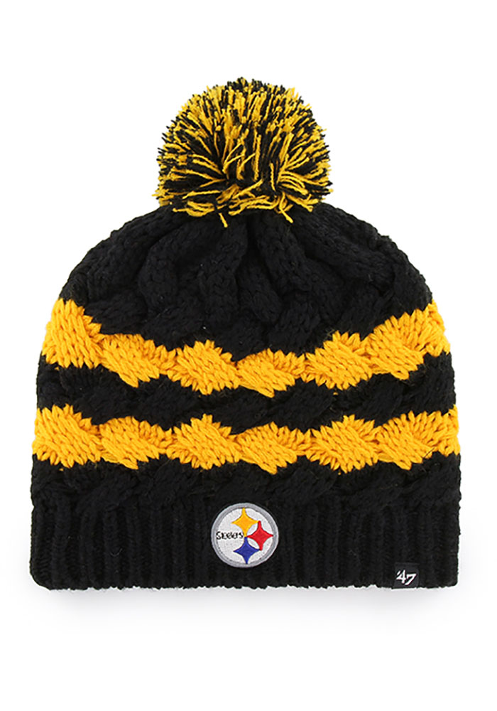 '47 Pittsburgh Steelers Black Topsail Beanie Womens Knit Hat - Image 1