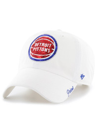 47 Detroit Pistons Womens White Sparkle Clean Up Adjustable Hat