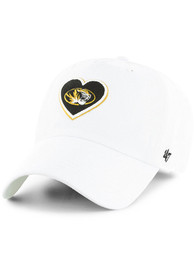 47 Missouri Tigers Womens White Courtney Clean Up Adjustable Hat