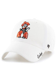 47 Oklahoma State Cowboys Womens White Sparkle Clean Up Adjustable Hat