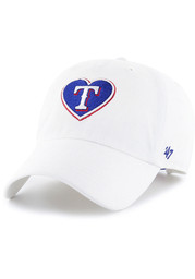 47 Texas Rangers Womens White Courtney W Clean Up Adjustable Hat