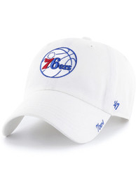 47 Philadelphia 76ers Womens White Miata Clean Up Adjustable Hat