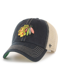 0f8ca16133326  47 Chicago Blackhawks Black Trawler Clean Up Adjustable Hat