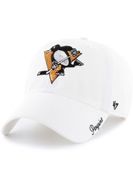 47 Pittsburgh Penguins Womens White Sparkle Clean Up Adjustable Hat