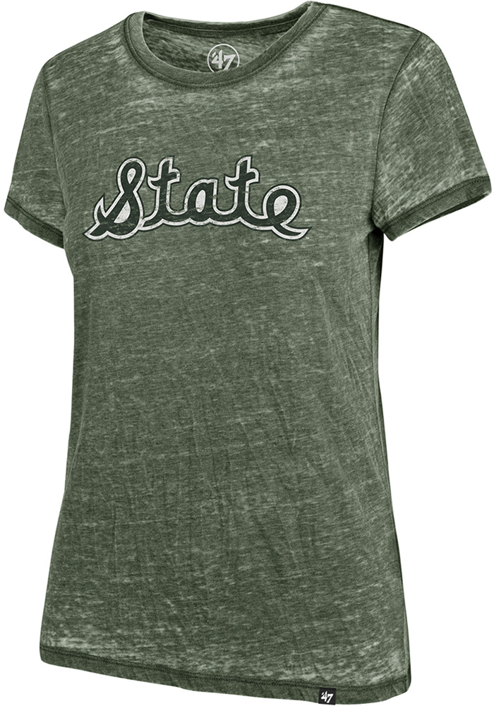 47 Michigan State Spartans Womens Green Fade Out Short Sleeve T-Shirt - Image 1