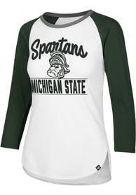 47 Michigan State Spartans Womens Splitter White LS Tee