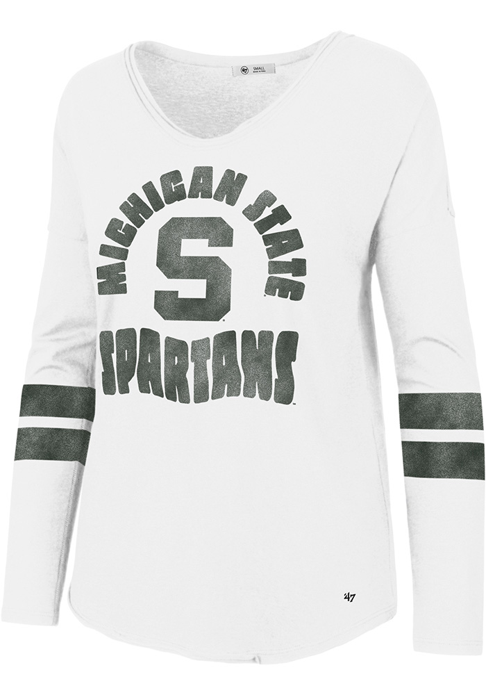 47 Michigan State Spartans Womens White Letter Courtside LS Tee - Image 1