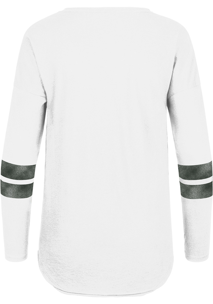 47 Michigan State Spartans Womens White Letter Courtside LS Tee - Image 2