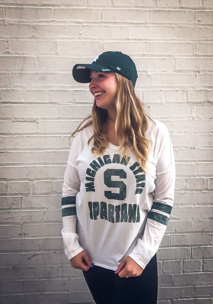 47 Michigan State Spartans Womens White Letter Courtside LS Tee - Image 3