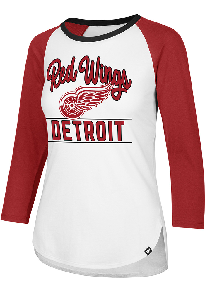 47 Detroit Red Wings Womens White Splitter Raglan LS Tee - Image 1