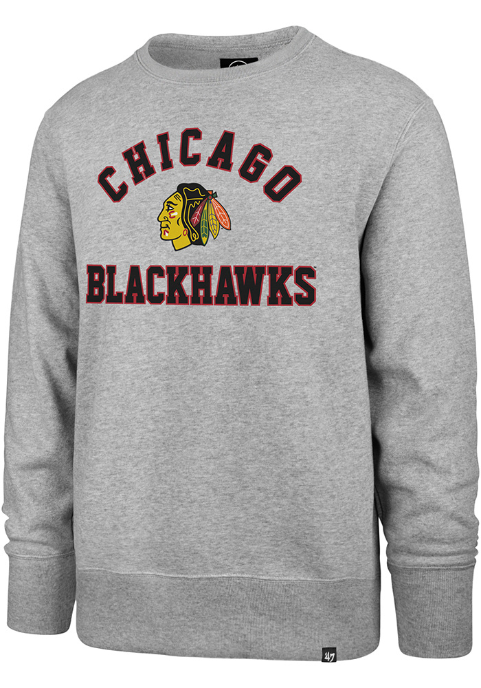 '47 Chicago Blackhawks Mens Grey Headline Long Sleeve Fashion Sweatshirt - Image 1