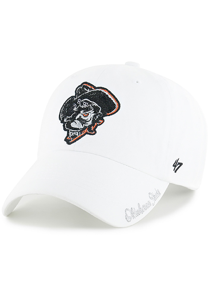 '47 Oklahoma State Cowboys White Sparkle Clean Up Womens Adjustable Hat - Image 1