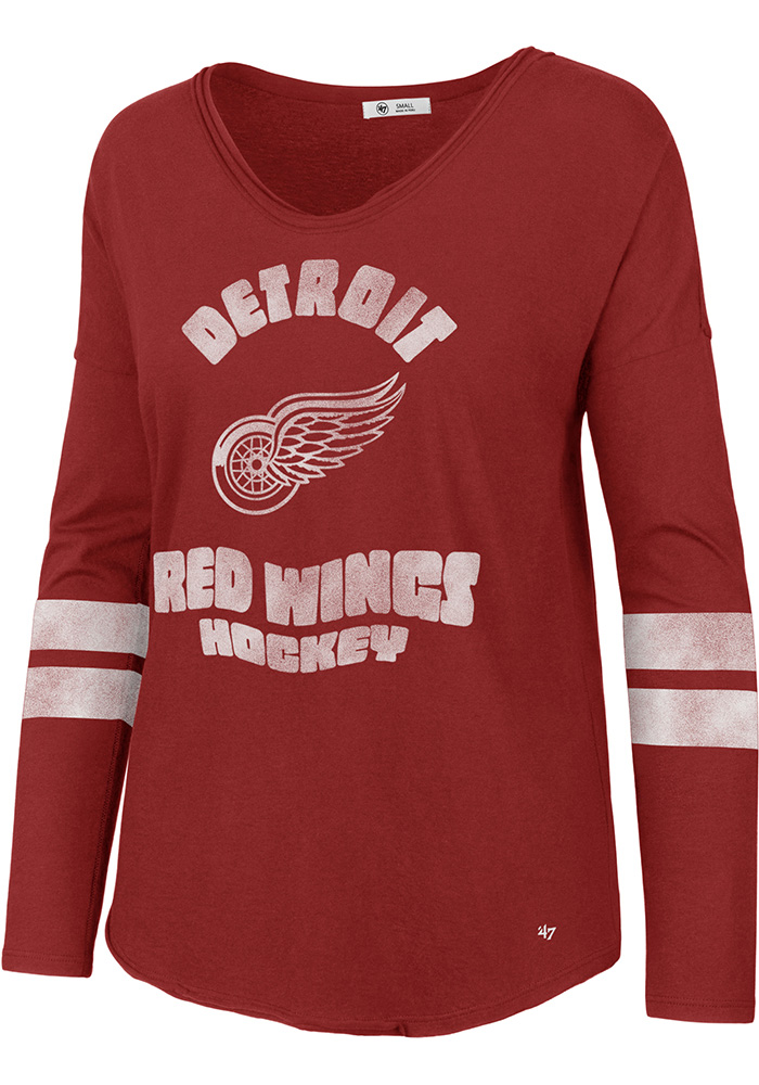 47 Detroit Red Wings Womens Red Letter Courtside 2 LS Tee - Image 1