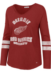 47 Detroit Red Wings Womens Red Letter Courtside 2 LS Tee