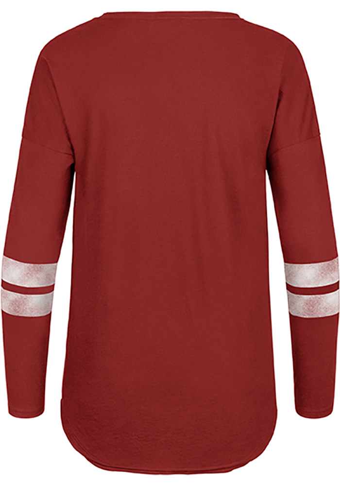 '47 Detroit Red Wings Womens Red Letter Courtside 2 LS Tee - Image 2