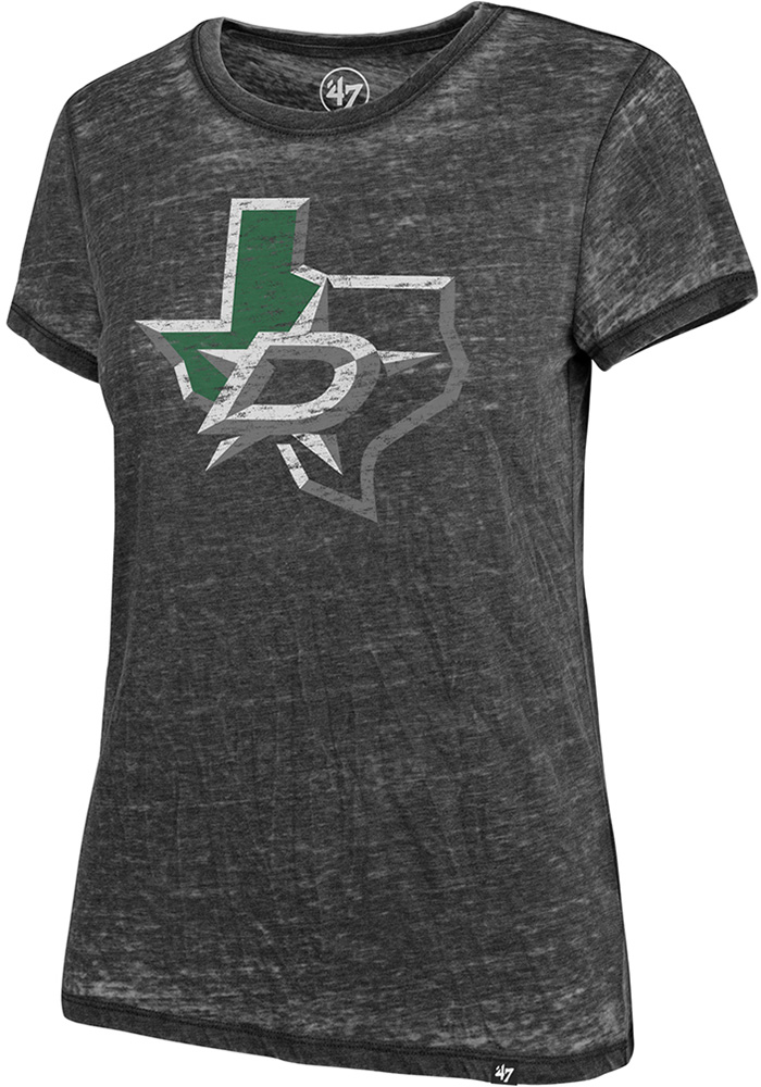 '47 Dallas Stars Womens Black Fade Out Short Sleeve T-Shirt - Image 1