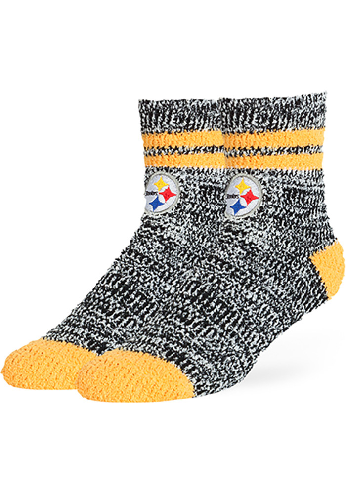 new style 2db08 9e3b2 Pittsburgh Steelers Balmy Fuzzy Womens Quarter Socks - Image 1