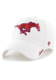 47 SMU Mustangs Womens White Sparkle Adjustable Hat