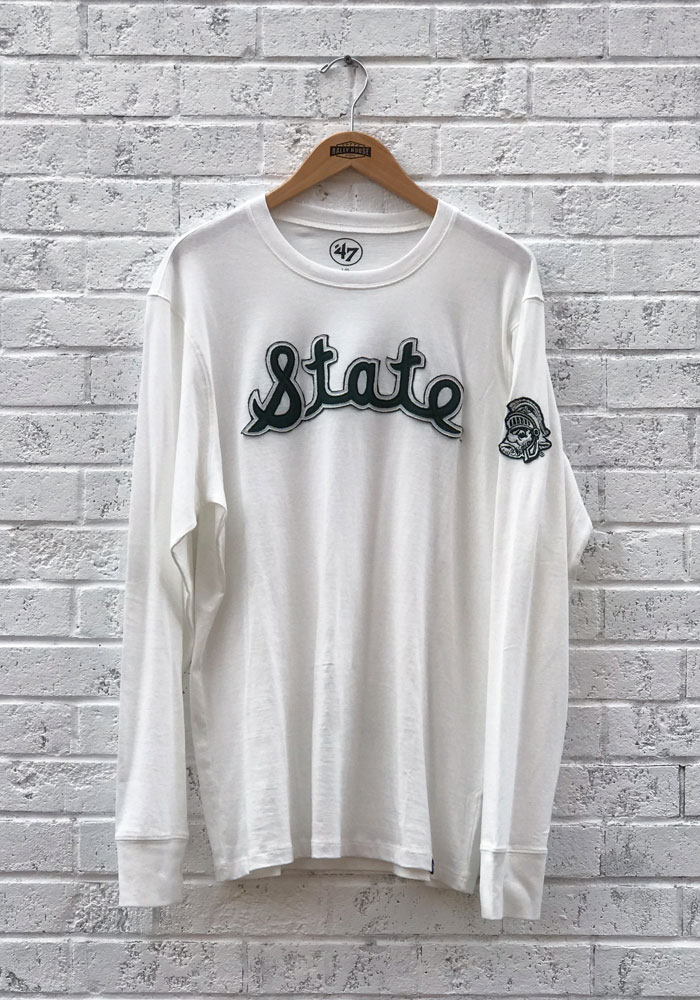 47 Michigan State Spartans White Fieldhouse Long Sleeve Fashion T Shirt - Image 1