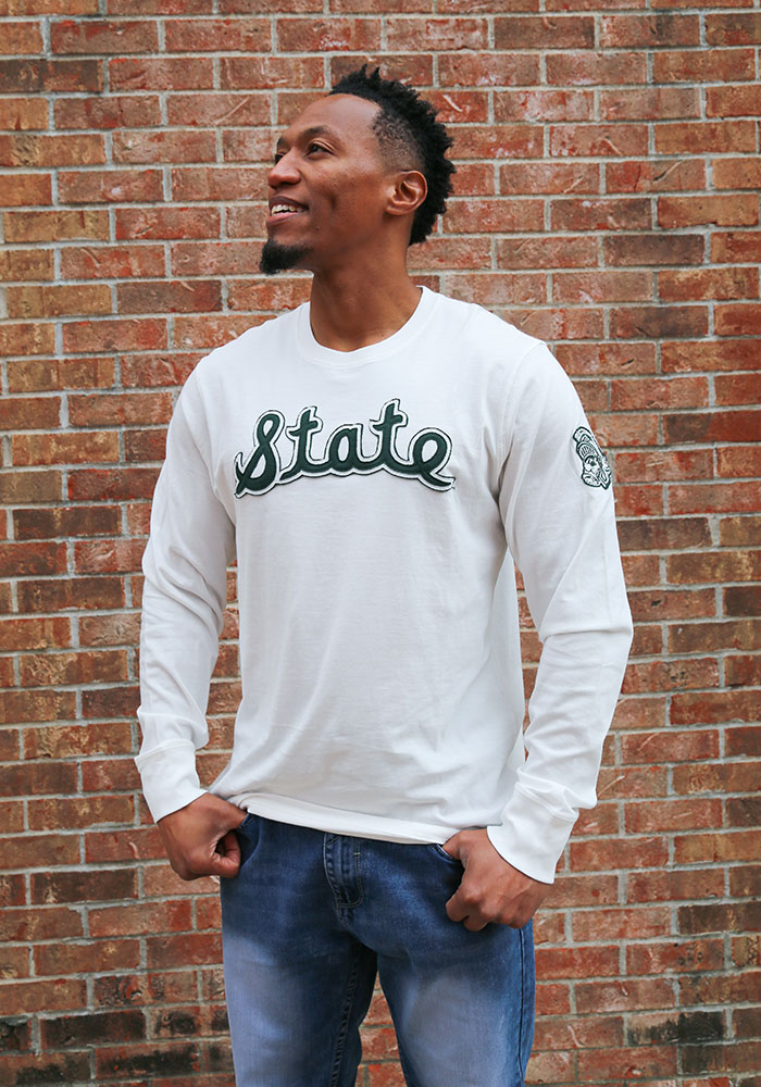 47 Michigan State Spartans White Fieldhouse Long Sleeve Fashion T Shirt - Image 2