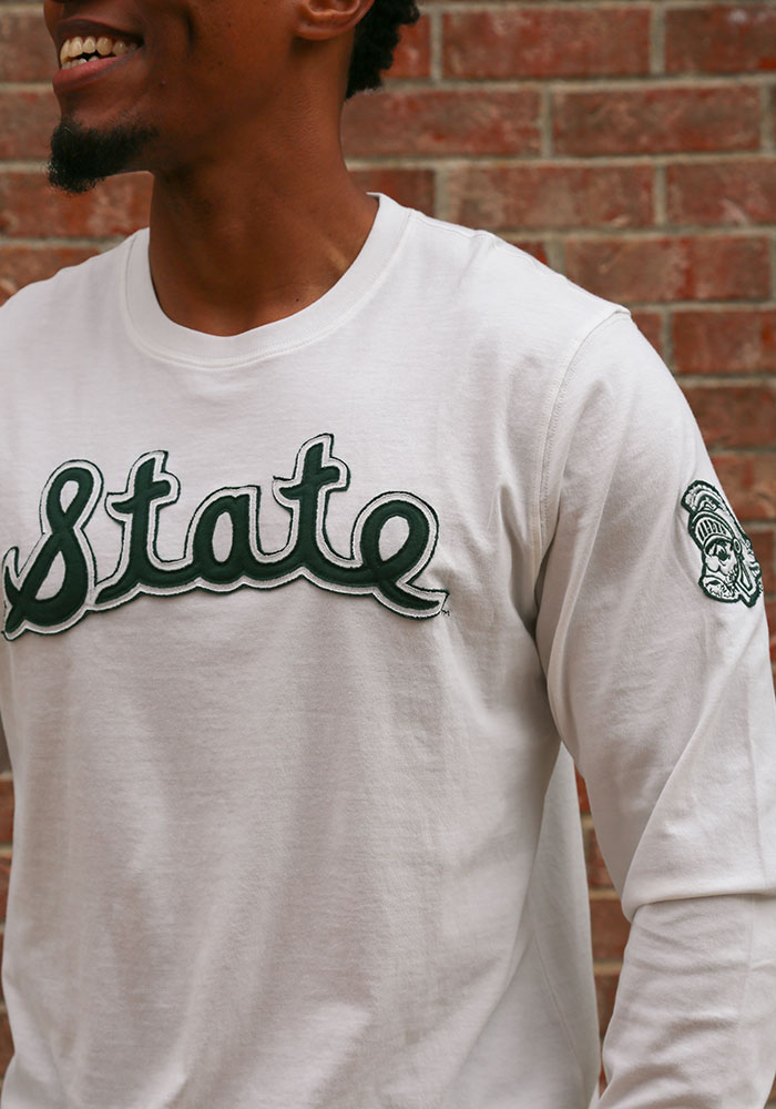 47 Michigan State Spartans White Fieldhouse Long Sleeve Fashion T Shirt - Image 3