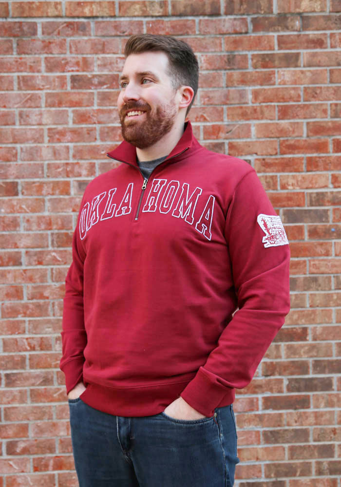 '47 Oklahoma Sooners Mens Crimson Striker Long Sleeve 1/4 Zip Fashion Pullover - Image 2