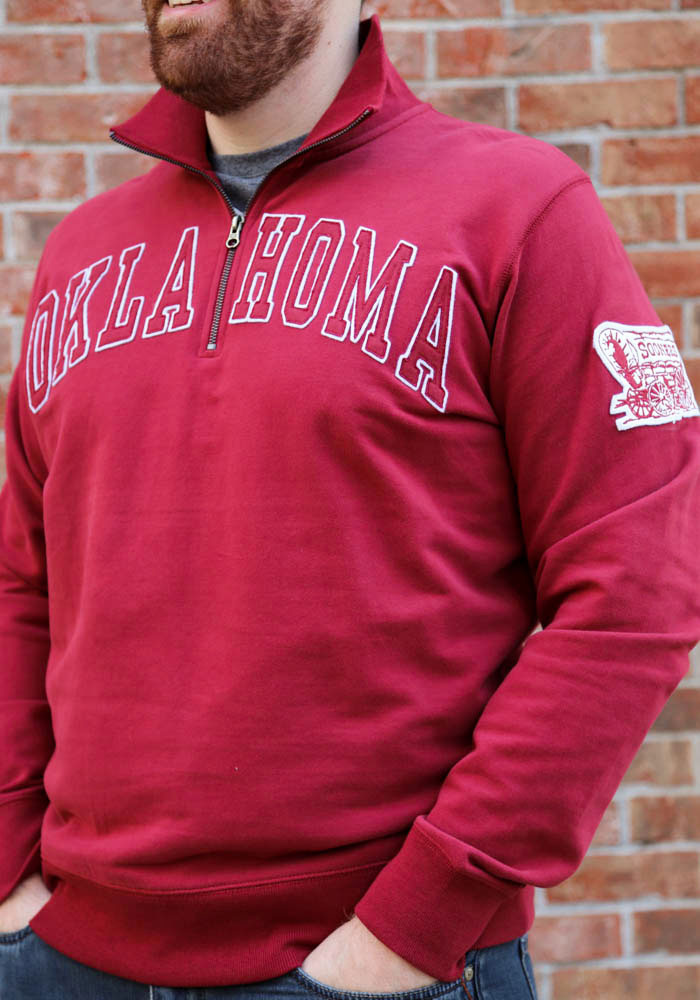 '47 Oklahoma Sooners Mens Crimson Striker Long Sleeve 1/4 Zip Fashion Pullover - Image 3