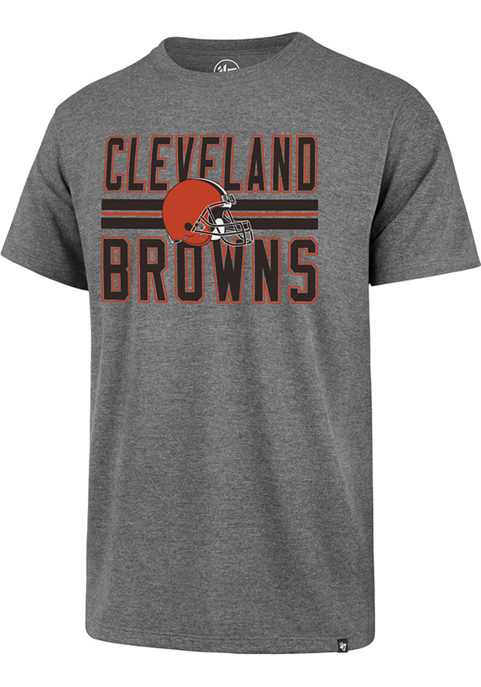 47 Cleveland Browns Grey Helmet Stripe Short Sleeve T Shirt - Image 1