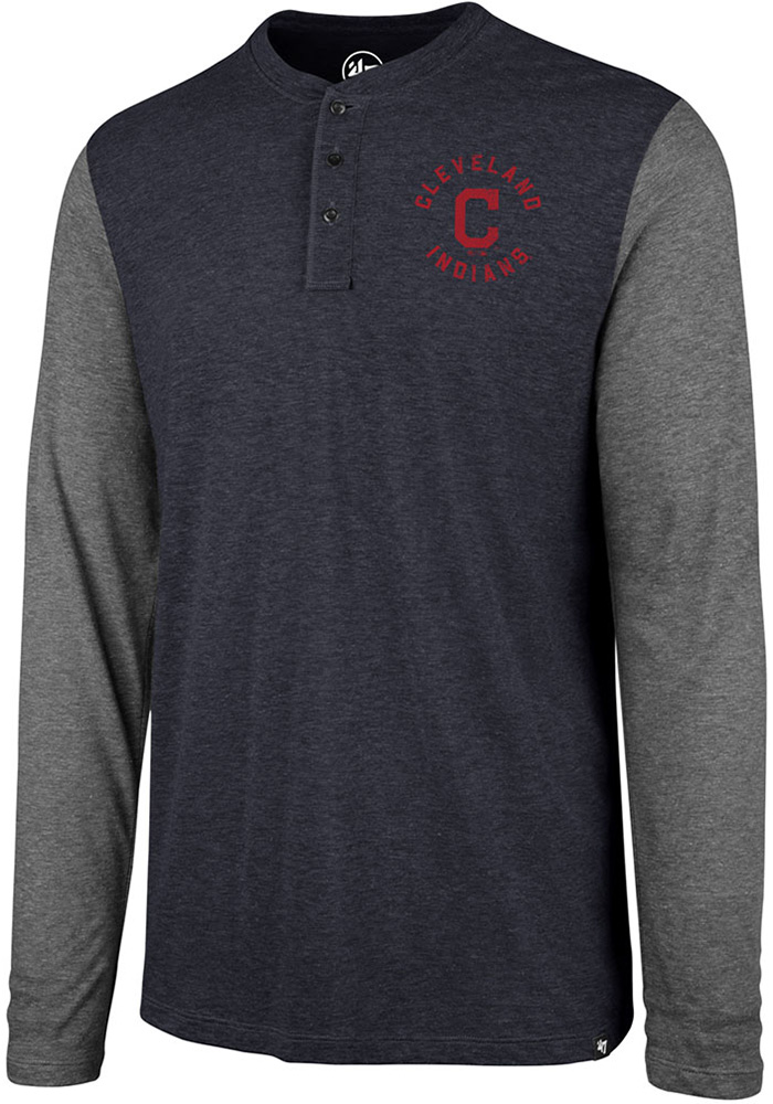 '47 Cleveland Indians Navy Blue Match LS Henley Long Sleeve Fashion T Shirt - Image 1