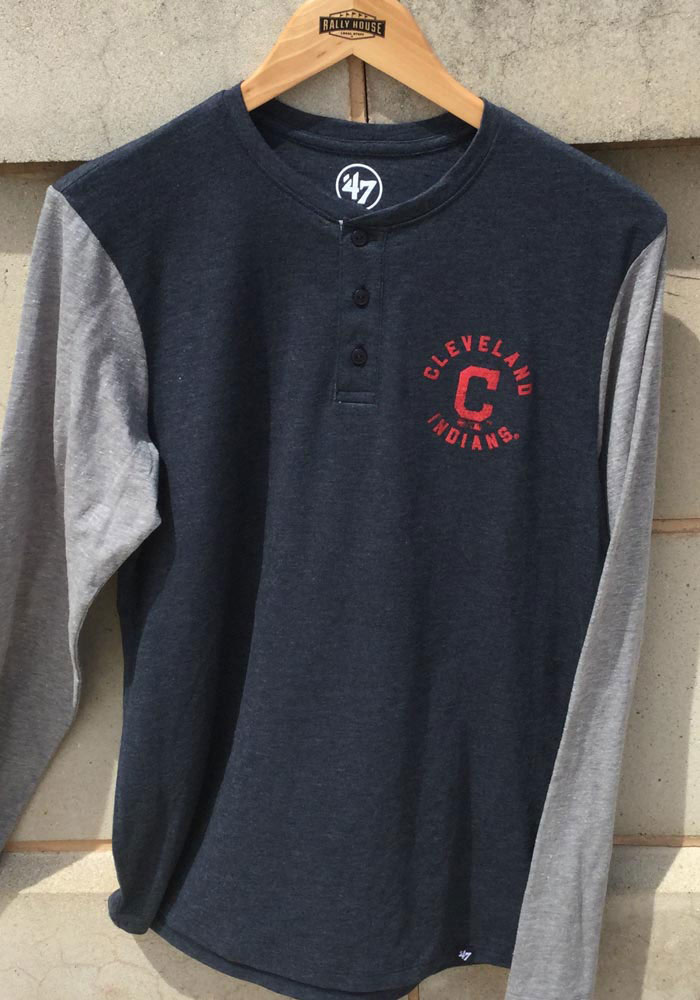 '47 Cleveland Indians Navy Blue Match LS Henley Long Sleeve Fashion T Shirt - Image 2