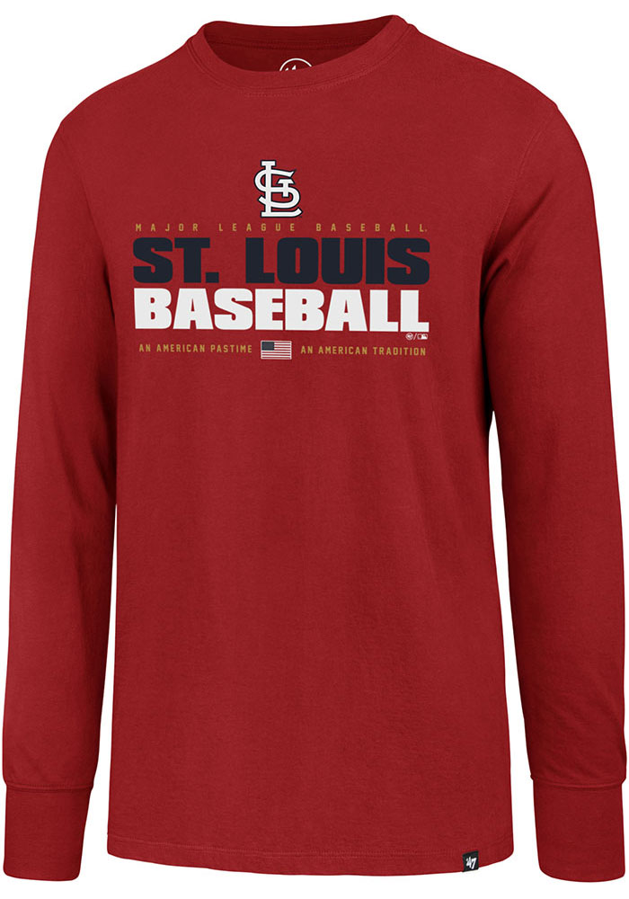 '47 St Louis Cardinals Red Super Rival LS Long Sleeve T Shirt - Image 1