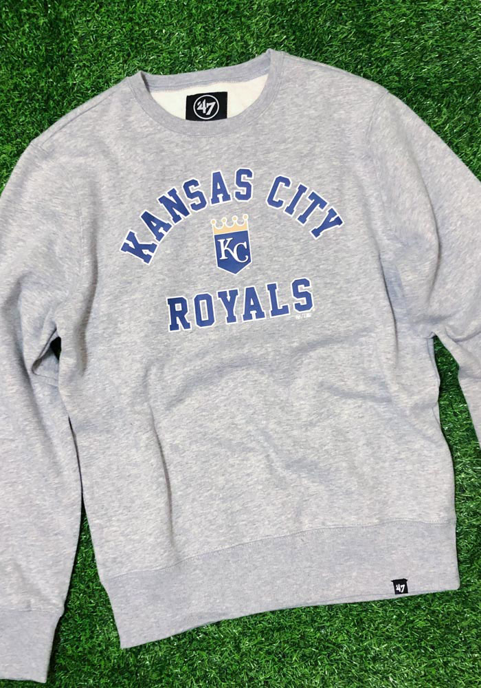 '47 Kansas City Royals Mens Grey Headline Crew Long Sleeve Fashion Sweatshirt - Image 2
