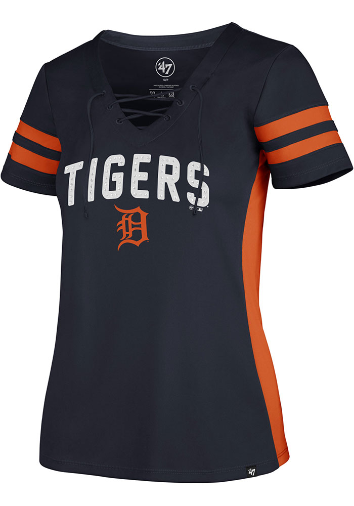 Detroit Tigers Womens '47 Turnover Fashion Baseball Jersey - Navy Blue - Image 1