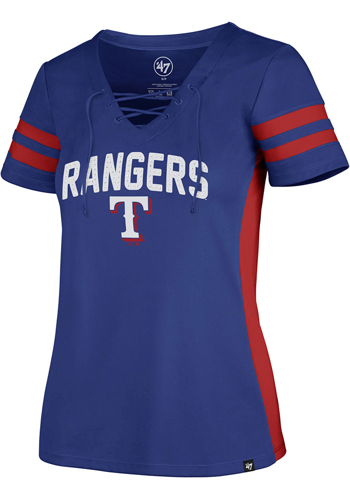 Texas Rangers Womens '47 Turnover Fashion Baseball Jersey - Blue - Image 1