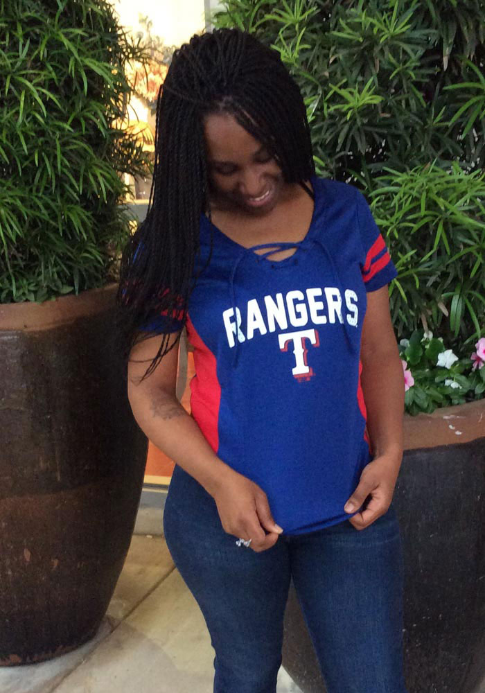 Texas Rangers Womens '47 Turnover Fashion Baseball Jersey - Blue - Image 3