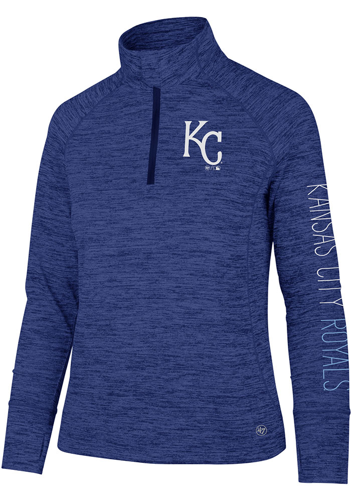 '47 KC Royals Womens Blue Impact 1/4 Zip Pullover - Image 1