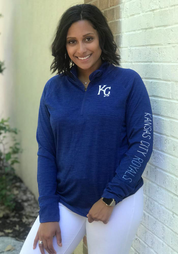 '47 KC Royals Womens Blue Impact 1/4 Zip Pullover - Image 3