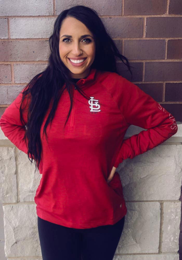 '47 STL Cardinals Womens Red Impact 1/4 Zip Pullover - Image 3