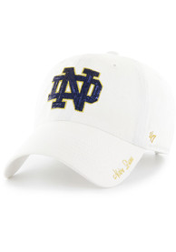 47 Notre Dame Fighting Irish Womens White Sparkle Clean Up Adjustable Hat