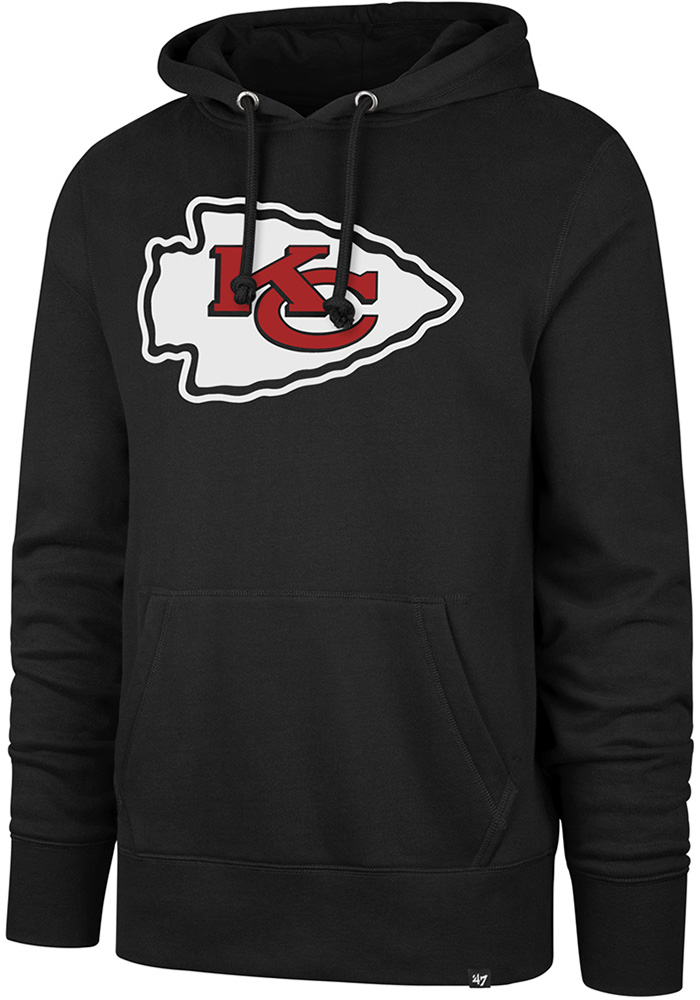 '47 Kansas City Chiefs Mens Black Double Logo Long Sleeve Hoodie - Image 1