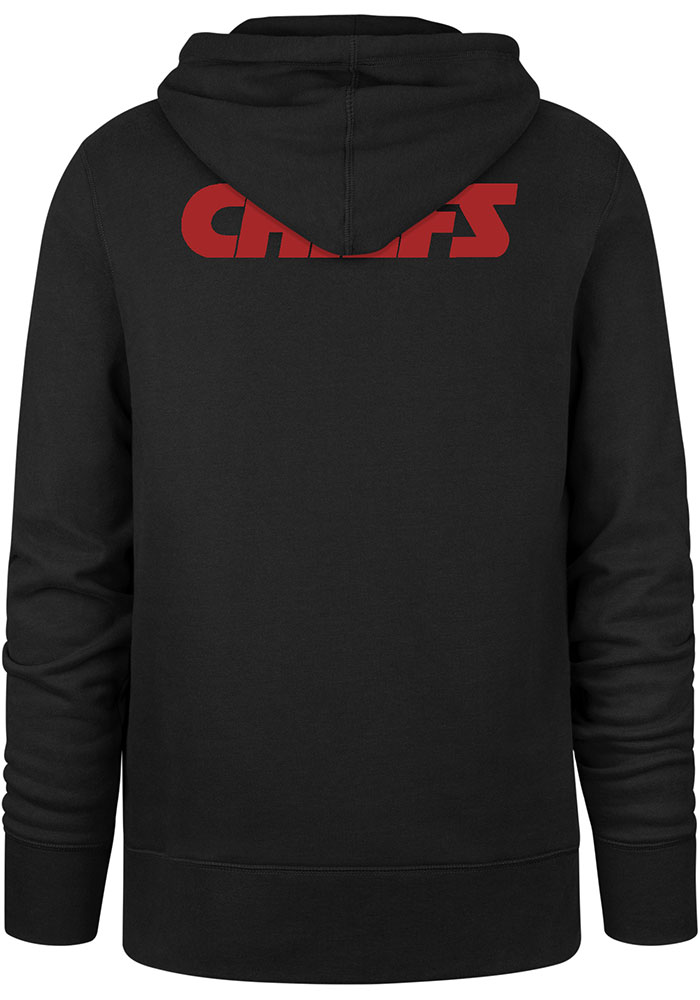 '47 Kansas City Chiefs Mens Black Double Logo Long Sleeve Hoodie - Image 2