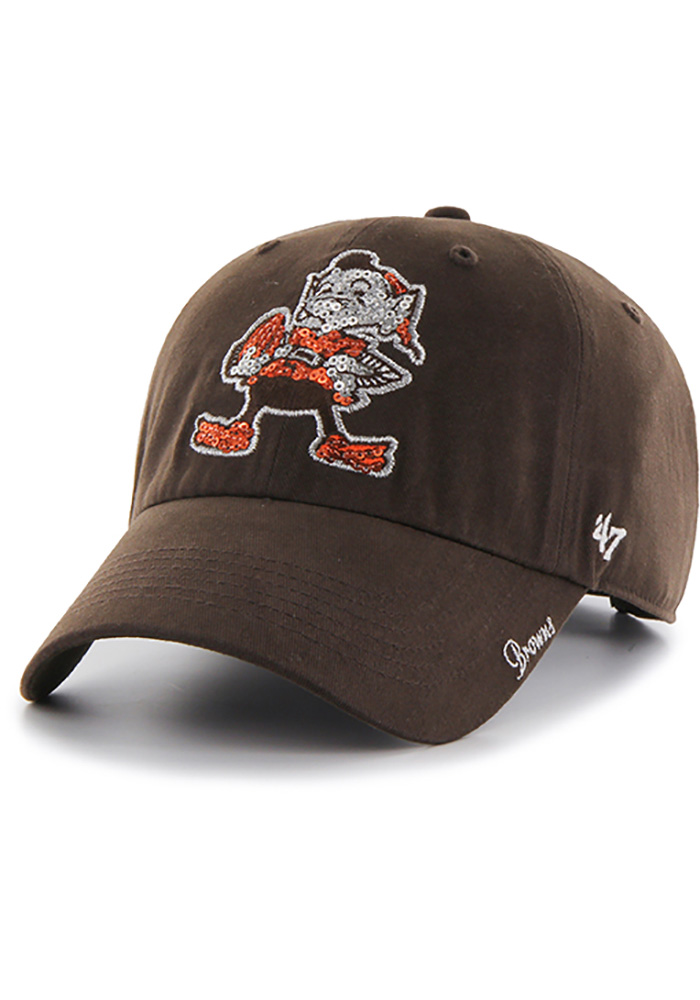 '47 Cleveland Browns Brown Sparkle Clean Up Womens Adjustable Hat - Image 1