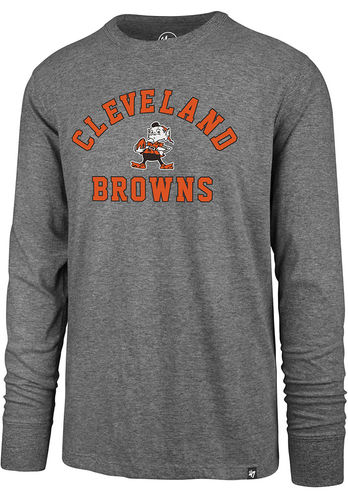 '47 Cleveland Browns Grey Varsity Arch Long Sleeve T Shirt - Image 1