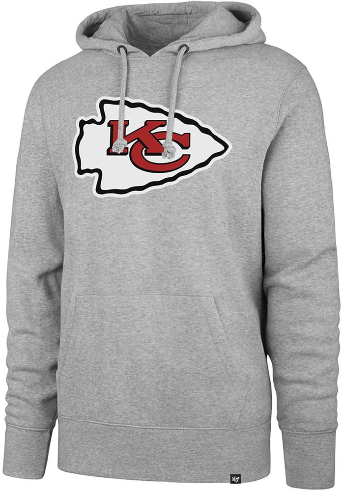 '47 Kansas City Chiefs Mens Grey Logo Headline Long Sleeve Hoodie - Image 1