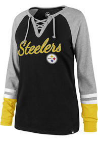 47 Pittsburgh Steelers Womens Fast Break Lace Up Black LS Tee