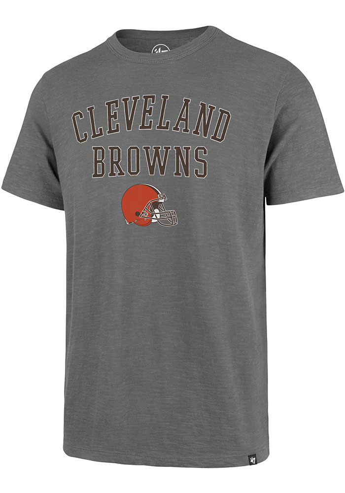 '47 Cleveland Browns Grey Classic Track Short Sleeve Fashion T Shirt - Image 1