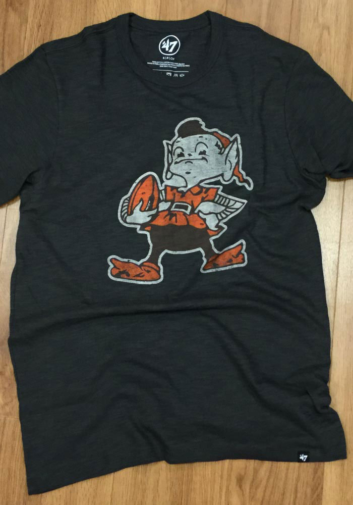 '47 Cleveland Browns Grey Classic Track Short Sleeve Fashion T Shirt - Image 3
