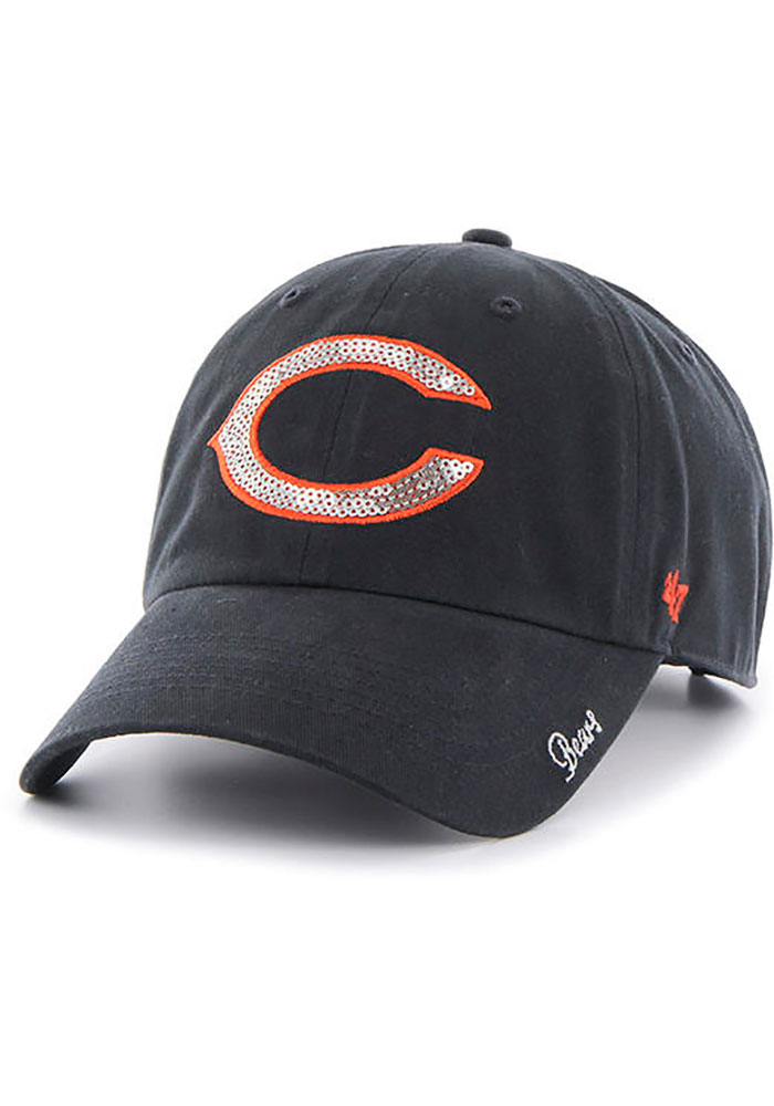 '47 Chicago Bears Navy Blue Sparkle 47 Clean Up Womens Adjustable Hat - Image 1