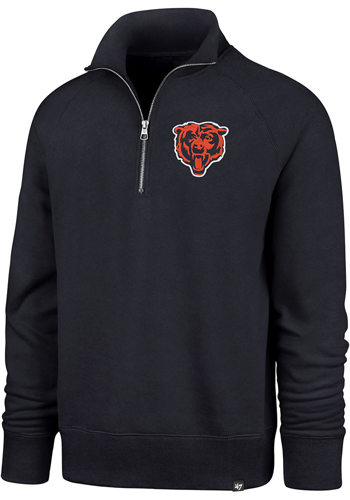 47 Chicago Bears Mens Navy Blue Headline Long Sleeve 1/4 Zip Fashion Pullover - Image 1